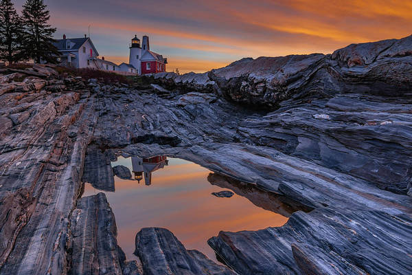 Sunrise Reflections At Pemaquid Point Art Print