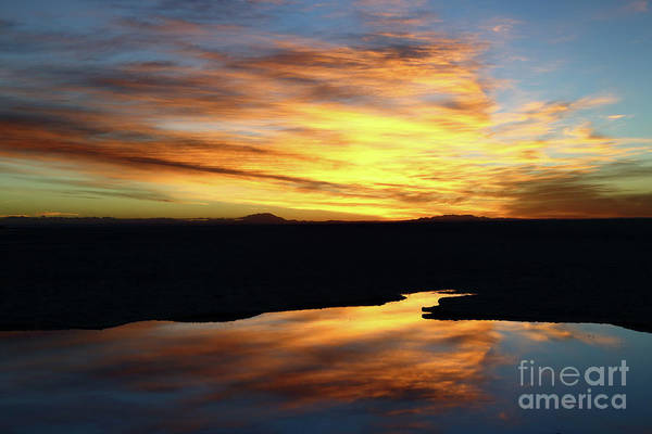 Photograph - Sunrise Reflections Salar De Uyuni Bolivia by James Brunker