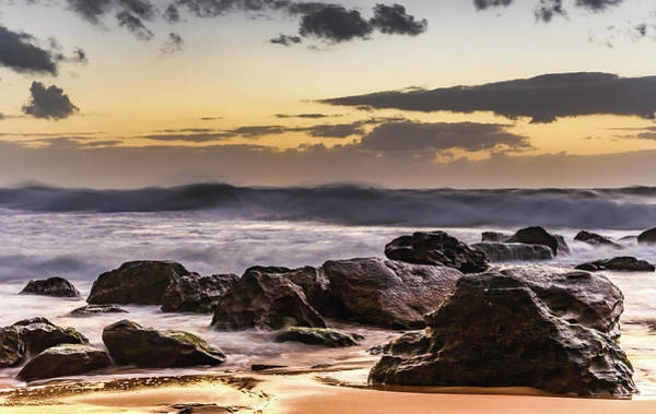 Killcare Photograph - Sunrise Seascape With Foreground Rocks by Merrillie Redden