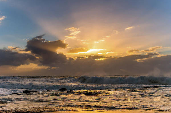 Killcare Photograph - Sunrise Seascape With Golden Rays by Merrillie Redden