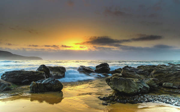 Killcare Photograph - Sunrise Seascape With Large Rocks by Merrillie Redden