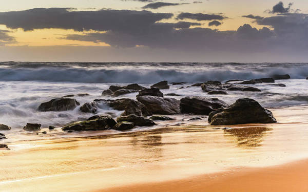 Killcare Photograph - Sunrise Seascape With Rocks And Surf by Merrillie Redden