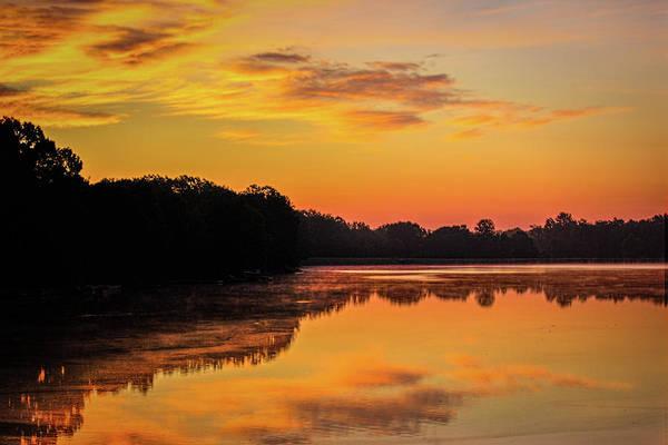 Photograph - Sunrise Silhouettes - Lake Landscape by Barry Jones