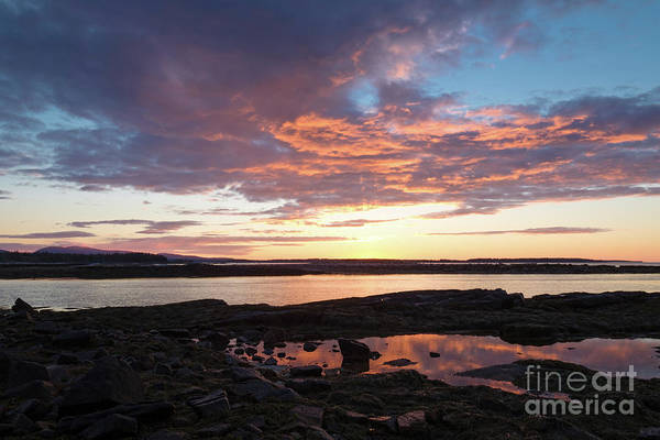 Photograph - Sunrise, Southwest Harbor, Seawall, Acadia #40169 by John Bald