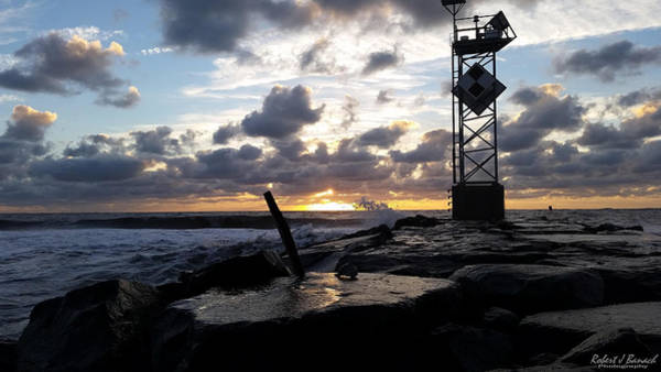 Photograph - Sunrise Splash On The Jetty by Robert Banach