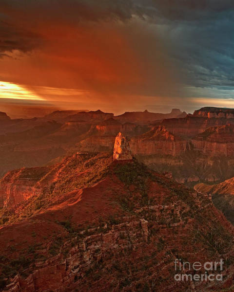 Photograph - Sunrise Storm Mount Hayden Grand Canyon Arizona by Dave Welling