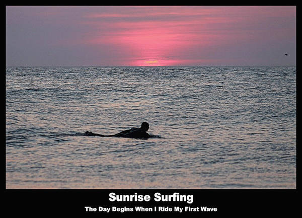 Photograph - Sunrise Surfing by Robert Banach