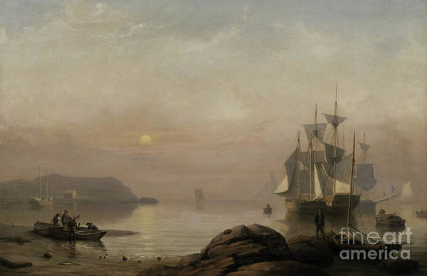 Wall Art - Painting - Sunrise Through Mist by Fitz Henry Lane
