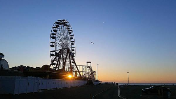 Photograph - Sunrise Under The Ferris Wheel by Robert Banach