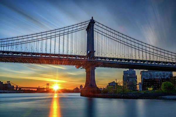 Photograph - Sunrise Under The Manhattan Bridge by Rick Berk