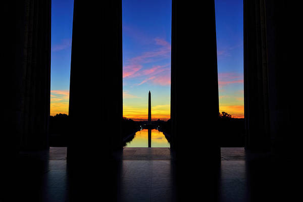 Photograph - Sunrise View From The Lincoln Memorial by Bill Dodsworth