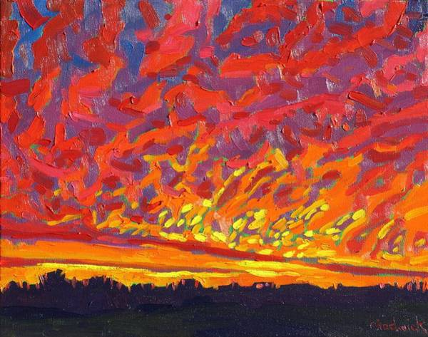 Watershed Painting - Sunrise Virga by Phil Chadwick