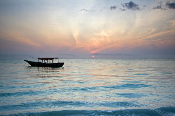 Photograph - Sunrise With Boat, Zanzibar by Aivar Mikko
