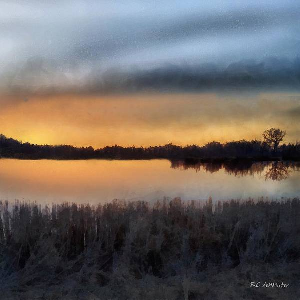 Painting - Sunrise On A Frosty Marsh by RC DeWinter