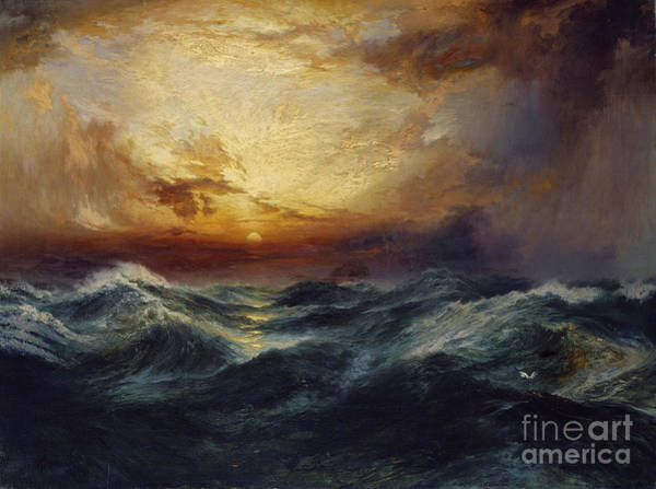 Wave Breaking Painting - Sunset After A Storm by Thomas Moran