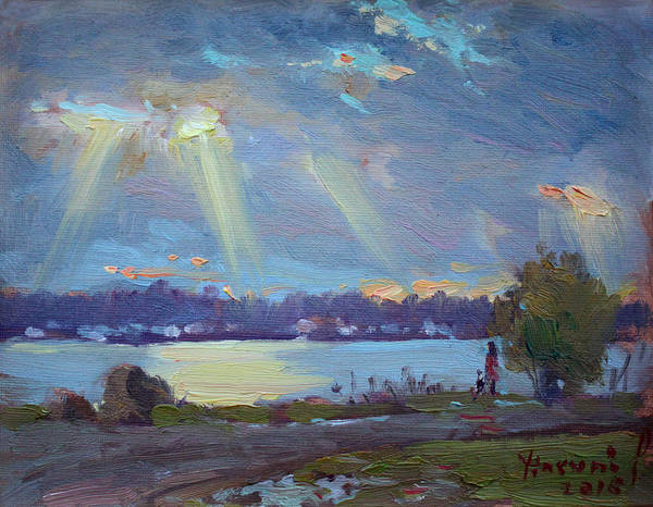 Wall Art - Painting - Sunset After The Rain by Ylli Haruni
