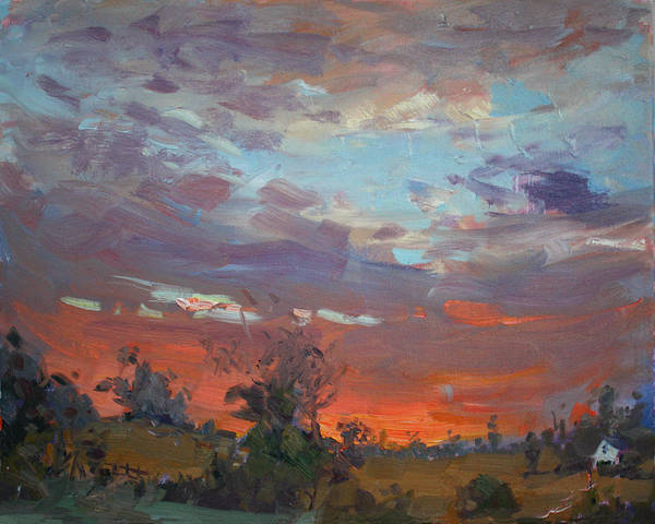 Thunderstorm Wall Art - Painting - Sunset After Thunderstorm by Ylli Haruni