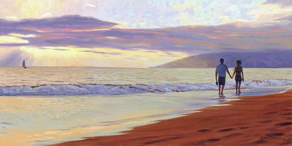 Stroll Painting - Sunset Aloha by Steve Simon