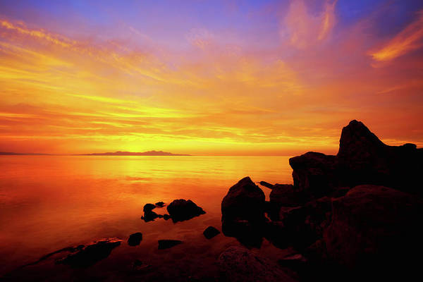 Great Lakes Photograph - Sunset And Fire by Chad Dutson