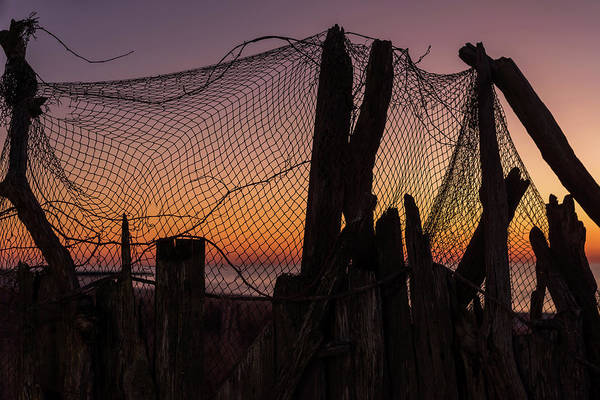 Photograph - Sunset And Fishing Net Cape May New Jersey by Terry DeLuco