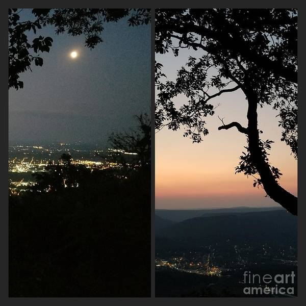Photograph - Sunset And Moonrise 2 by Rachel Hannah