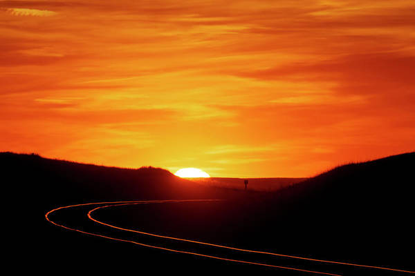 Photograph - Sunset And Railroad Tracks by Rob Graham