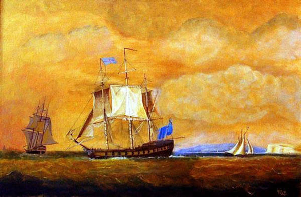 Painting - Sunset And Ships by Richard Le Page