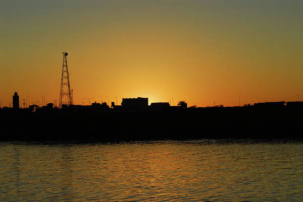 Tunisia Digital Art - Sunset And Silhouette At El Djorf. Tunisia by Carlos Perez Muley