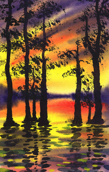 Umber Painting - Sunset And The Trees by Irina Sztukowski