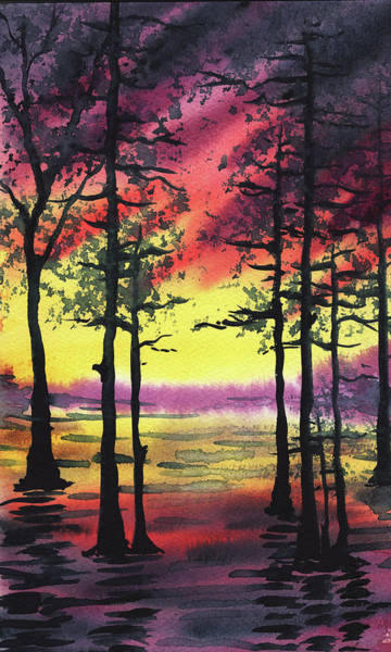 Umber Painting - Sunset And Trees by Irina Sztukowski