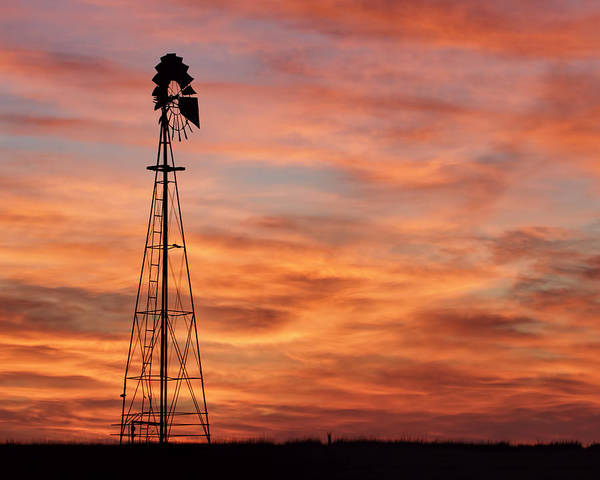 Sunset And Windmill 04 Art Print