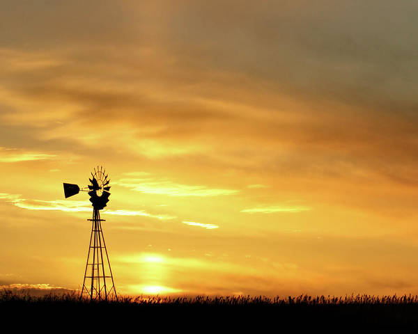 Art Print featuring the photograph Sunset And Windmill 11 by Rob Graham