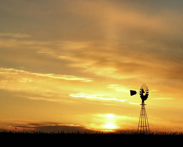 Art Print featuring the photograph Sunset And Windmill 13 by Rob Graham