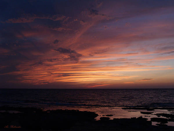 Sunset At Achziv Beach Art Print