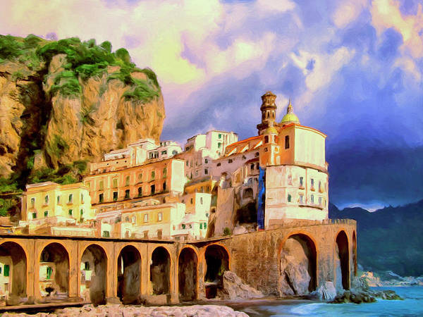Painting - Sunset At Atrani Amalfi Coast by Dominic Piperata