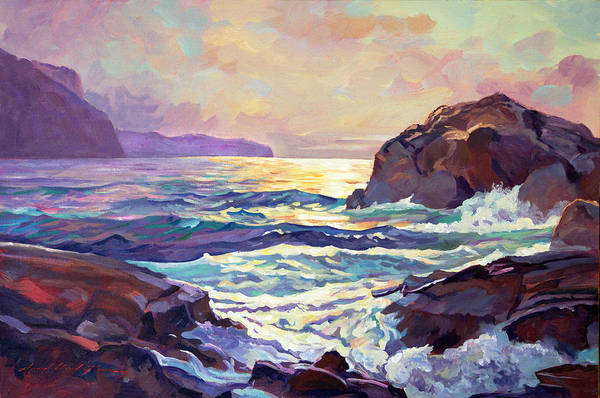 Big Wave Painting - Sunset At Big Sur by David Lloyd Glover