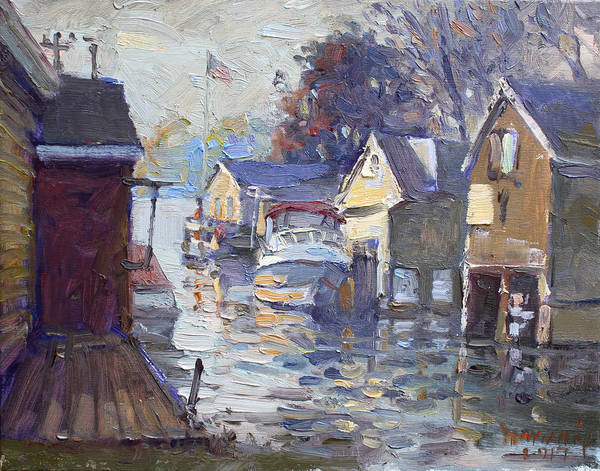 Tonawanda Wall Art - Painting - Sunset At Boathoses In North Tonawanda by Ylli Haruni