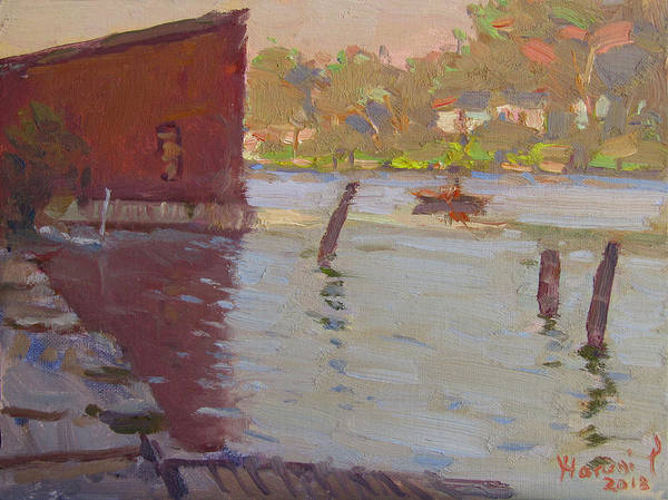 Wall Art - Painting - Sunset At Boathouse by Ylli Haruni