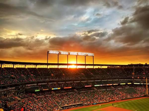 Photograph - Sunset At Camden Yards by Chris Montcalmo