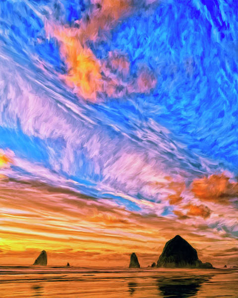 Cannon Beach Painting - Sunset At Cannon Beach by Dominic Piperata