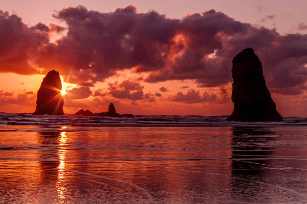 Photograph - Sunset At Cannon Beach Oregon by Teri Virbickis