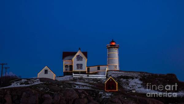 Photograph - Sunset At Cape Neddick/nubble Light. In York, Maine. by New England Photography