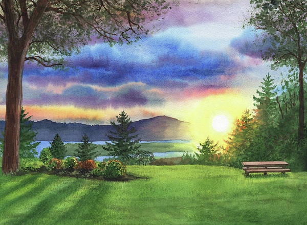Painting - Sunset At Columbia River State Of Washington by Irina Sztukowski