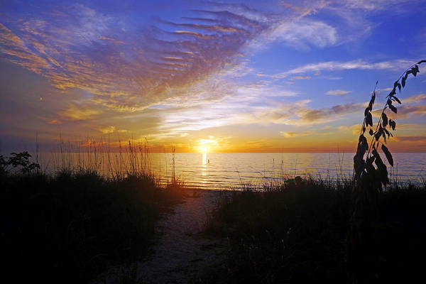 Sunset At Delnor Wiggins Pass State Park In Naples, Fl Art Print
