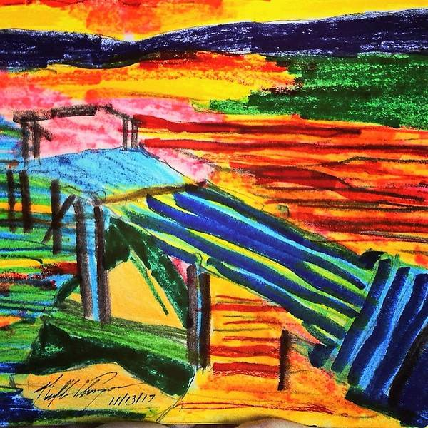 Love Drawing - Sunset At Dock by Love Art Wonders By God