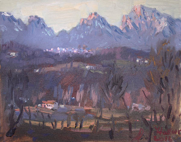Villa Wall Art - Painting - Sunset At Dolomites Belluno by Ylli Haruni