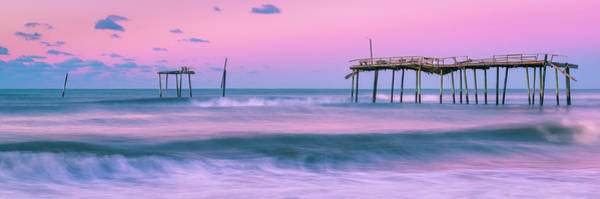 Art Print featuring the photograph Sunset At Frisco Fishing Pier Panorama by Ranjay Mitra