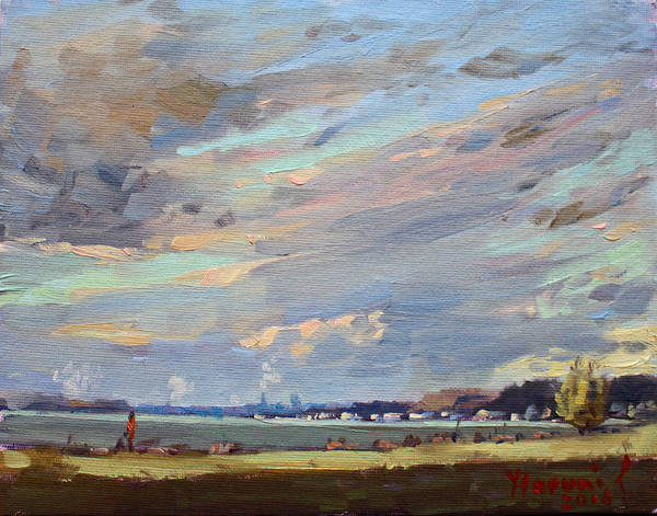 Wall Art - Painting - Sunset At Fishermans Park by Ylli Haruni