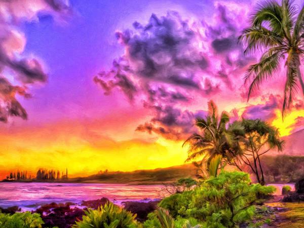Painting - Sunset At Hamoa Beach Maui by Dominic Piperata