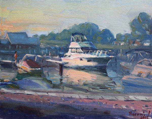 Wall Art - Painting - Sunset At Kellys And Jassons Boat by Ylli Haruni